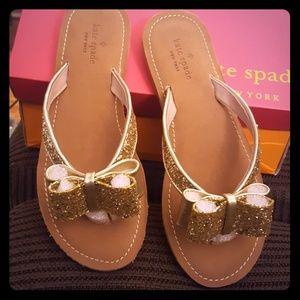 Kate Spade Gold Glitter Icarda flip flops